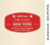 new york visa or arrival stamp... | Shutterstock .eps vector #601391930