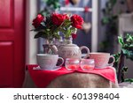 Table With Vases Of Red Rose ...