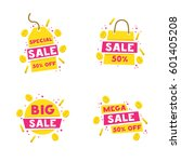 isolated set sticker  labels ... | Shutterstock .eps vector #601405208