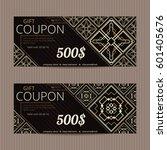 two gift vouchers in luxury... | Shutterstock .eps vector #601405676