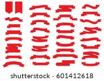 set of 34 ribbons in flat style.... | Shutterstock .eps vector #601412618