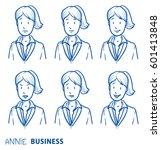 six different business woman... | Shutterstock .eps vector #601413848