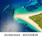 Aerial view of Zlatni rat beach in Bol, Island Brac, Croatia