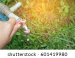 hand shut the faucet  water...   Shutterstock . vector #601419980