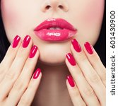 makeup lips with pink glossy... | Shutterstock . vector #601430900
