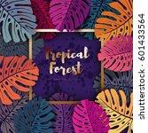 tropical leaf frame design ... | Shutterstock .eps vector #601433564
