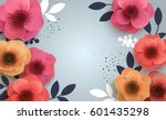 Stock vector red flowers with realistic shadow to banner or promotions background with anemones can be used for 601435298