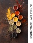 colorful spices on a dark... | Shutterstock . vector #601441070