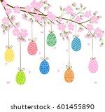 easter eggs on blooming spring... | Shutterstock .eps vector #601455890