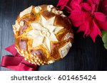 Small photo of Homemade Serbian slava bread and Christmas tree