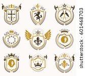set of vector vintage emblems... | Shutterstock .eps vector #601468703