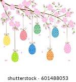 easter eggs on blooming spring... | Shutterstock . vector #601488053