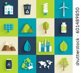 set of ecology flat icons... | Shutterstock .eps vector #601489850