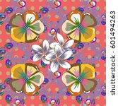 vintage vector floral seamless... | Shutterstock .eps vector #601494263