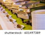 catering food wedding event... | Shutterstock . vector #601497389