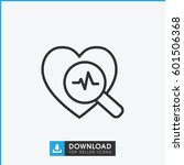 heartbeat search icon. simple... | Shutterstock .eps vector #601506368
