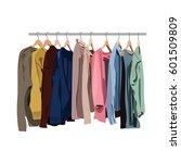 clothes rail. vector shop... | Shutterstock .eps vector #601509809
