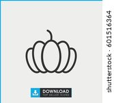 pumpkin icon. simple outline... | Shutterstock .eps vector #601516364