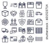 parcel icons set. set of 25... | Shutterstock .eps vector #601523714