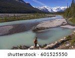 backpacker enjoying views of... | Shutterstock . vector #601525550