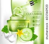 cucumber natural moisture skin... | Shutterstock .eps vector #601560920