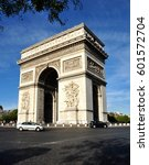 panorama of paris triumphal arch | Shutterstock . vector #601572704