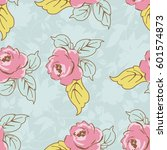 seamless floral pattern with... | Shutterstock .eps vector #601574873