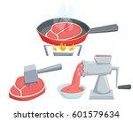 fry the steak in a pan  make... | Shutterstock . vector #601579634