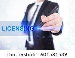 businessman write on the... | Shutterstock . vector #601581539