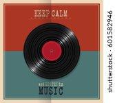 retro poster with vinyl disk... | Shutterstock .eps vector #601582946