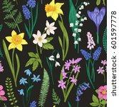 vintage seamless floral pattern ... | Shutterstock .eps vector #601597778