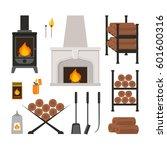 Cartoon Colorful Fireplace...