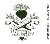 vector image of a vegan emblem... | Shutterstock .eps vector #601601780