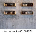 Glass Jar On Wood Shelves On...