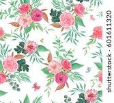 watercolor seamless pattern... | Shutterstock . vector #601611320