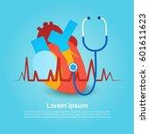 heart stethoscope health world... | Shutterstock .eps vector #601611623