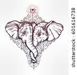 vintage style vector elephant... | Shutterstock .eps vector #601616738