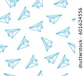 origami plane seamless pattern | Shutterstock .eps vector #601624556