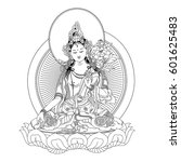 white tara sits in a meditation ... | Shutterstock .eps vector #601625483