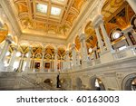 Library of Congress Main Hall - stock photo