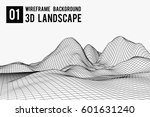 wireframe landscape background. ...   Shutterstock .eps vector #601631240