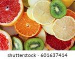 fruit textures. kiwi orange... | Shutterstock . vector #601637414