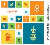 celebration easter icons.... | Shutterstock .eps vector #601638530