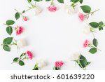 flowers composition. frame made ... | Shutterstock . vector #601639220