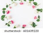 flowers composition. frame made ...   Shutterstock . vector #601639220