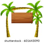 wooden sign on coconut trees... | Shutterstock .eps vector #601643090
