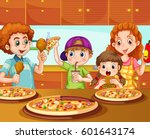 family having pizza in kitchen... | Shutterstock .eps vector #601643174