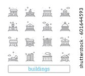 building thin line icons.... | Shutterstock .eps vector #601644593