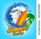 surfing shark | Shutterstock .eps vector #601655000