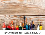 view of fishing accessories on... | Shutterstock . vector #601655270